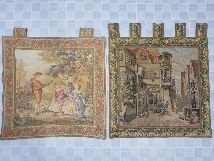 Two Piece Vintage pictorial tapestry, France 56 cm x 58 cm