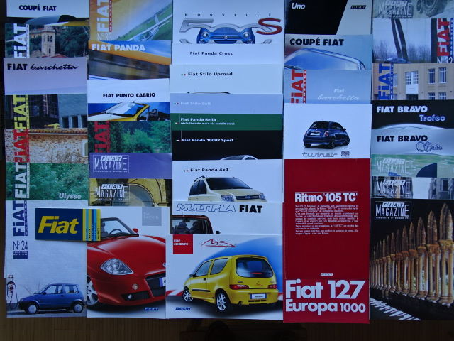 1974 - 2016 - FIAT 127, 500, Panda, Bravo, Punto, Barchetta, Coupé, Stilo, Uno, etc - Mixed lot of 38 original sales brochures & magazines