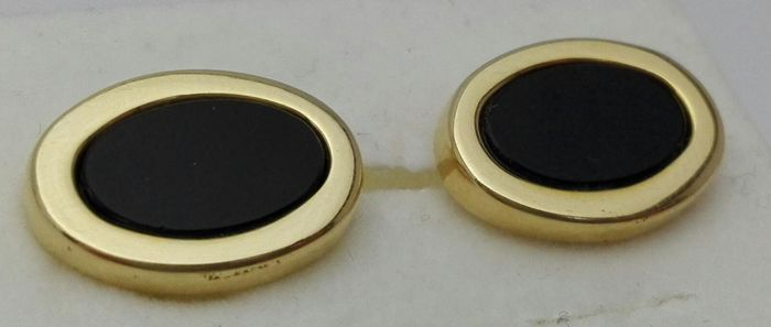 Men's cufflinks in 18 kt yellow gold and onyx