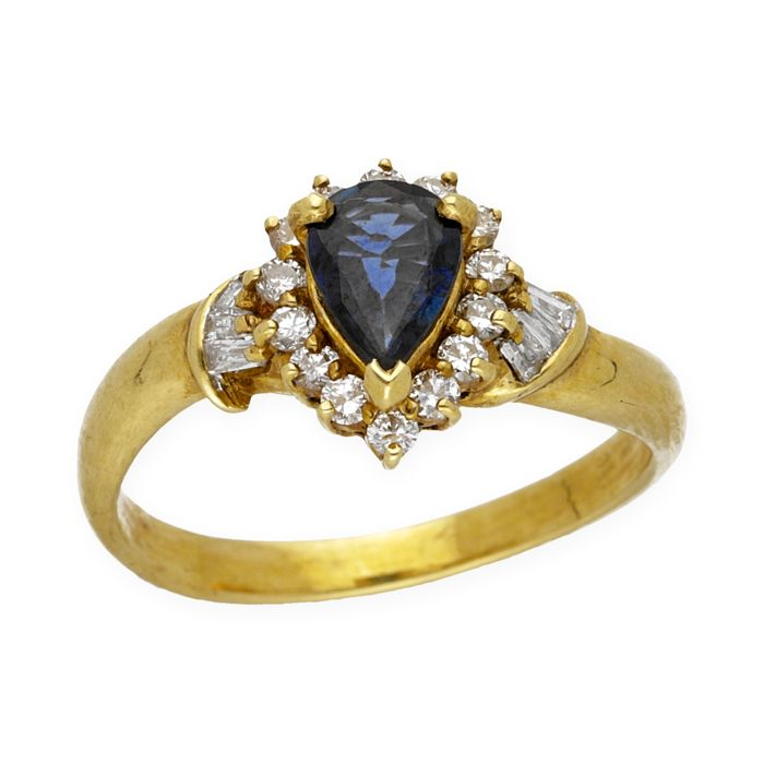 Yellow gold, 18 kt - Cocktail ring - Diamonds, 0.90 ct - Sapphire, 1 ct - Cocktail ring size 12 (Spain)