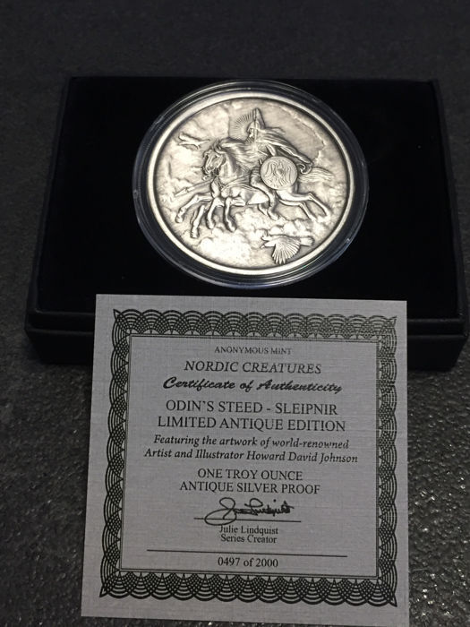 United States - Medal 2016 'Nordic Creatures - Sleipnir' Antique finish with box & certificate -1 oz silver