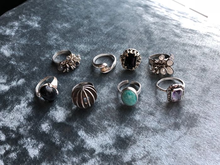 Vintage collection of silver gem set rings danish