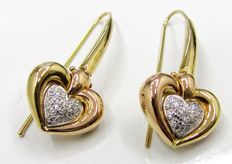 Heart earrings in two tones of 18 kt gold - Diamonds for  0.30 ct - 11.4 grams