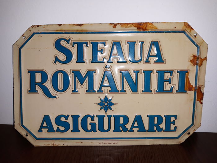 Romania -2 rare enamel signs insurance companies Steaua Romana and Franco Romana ,1930-1940