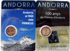 Andorra – 2 Euro 2017 'Andorra the country in the Pyrenees' + 2 Euro 2017 '100 years of the national hymn' in blister