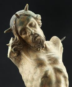 Polychrome wooden Christ, France-- 17th/18th century
