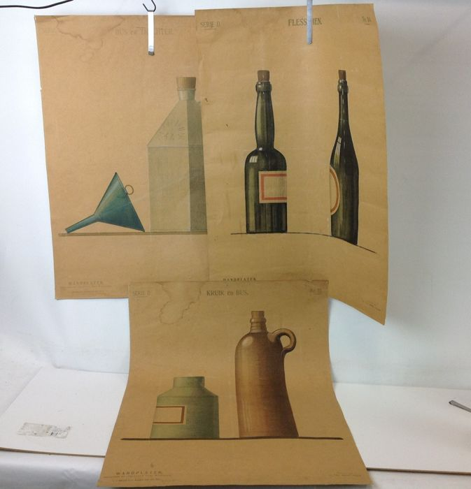 3 drawing sample posters with grocery store items. Cans, bottles and a jug