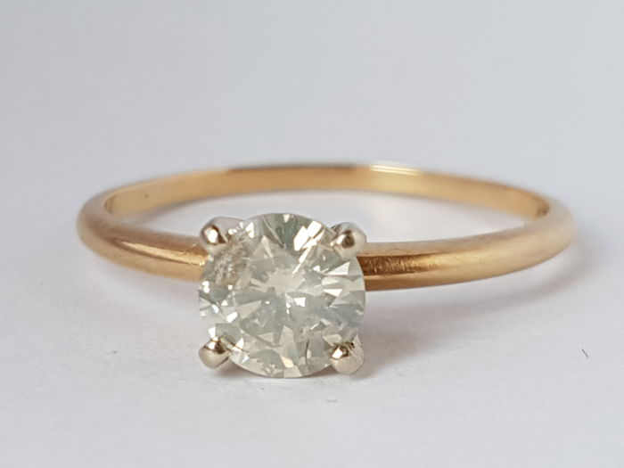 14K Yellow Gold Ring with Cut Round Brilliant Diamond of 0.68 ct  Certified K/I1