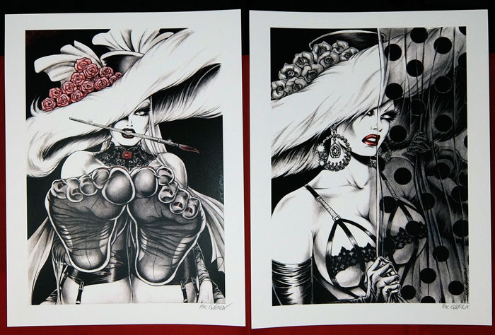 "Guerra, Nik - 2x artworks from the portfolio ""Pin ups"" (2014) - hand signed by Guerra"