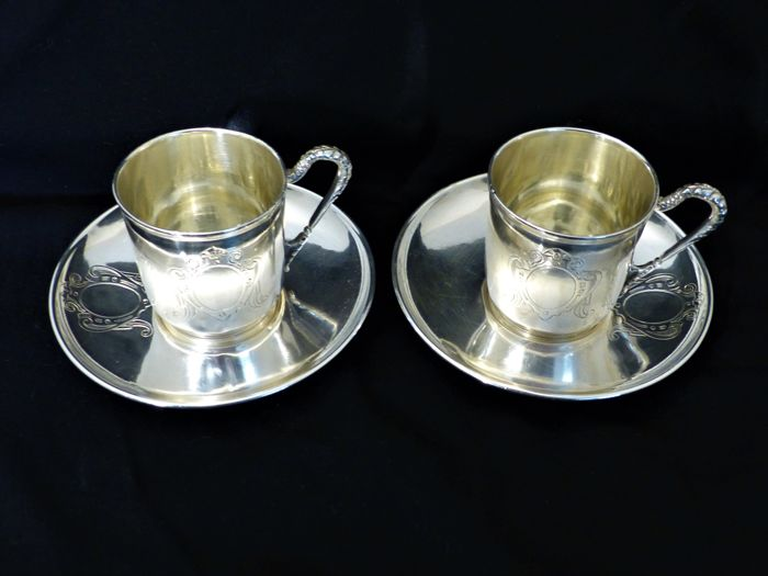 2 silver coffee cups + saucers, France
