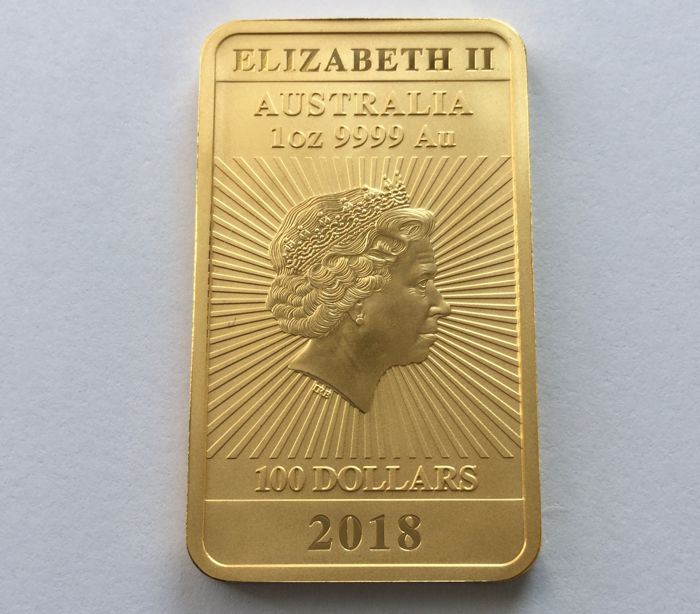 Australia: 100 Dollars, 2018 - Perth Mint Dragon, Rectangle - 1 oz Gold