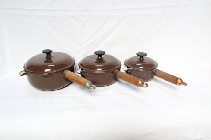 Set of three casseroles (Le Creuset Made in France),enamel cast iron