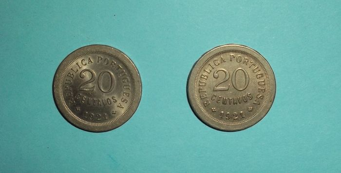 Portugal Republic – 20 Centavos – 1921 (Open and closed 'P')