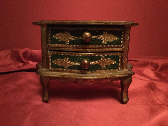 Miniature lacquered and gilt dresser in solid wood, France 19th/20th centuries