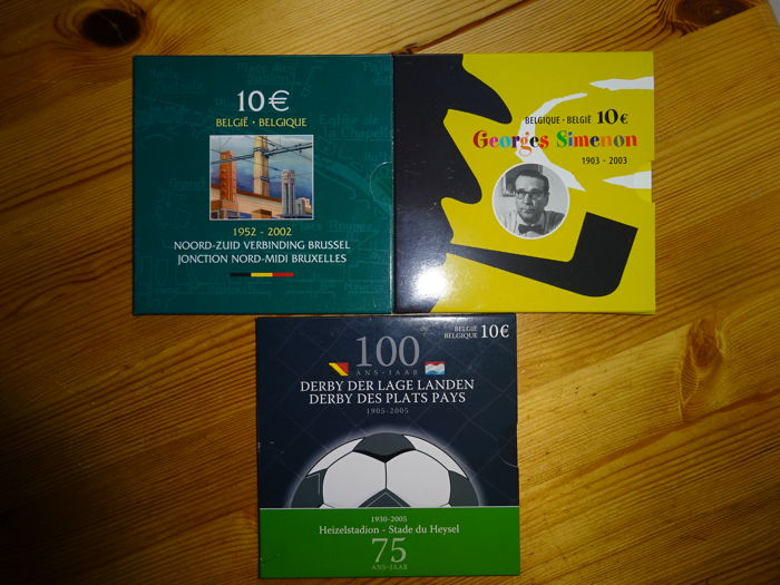 Belgium - 10 Euro 2002, 2003 and 2005 (3 pieces) - silver
