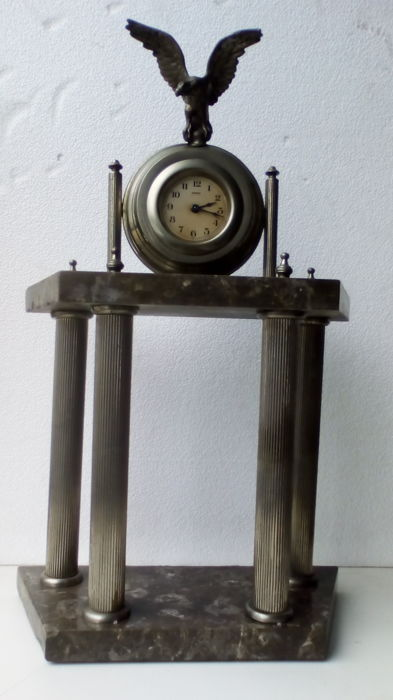 Table clock - base in marble and chromed metal - 1940 ca. - Italy
