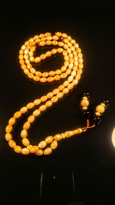 Egg yolk- Landscape colour Baltic amber Japa Mala 108 beads necklace, length ca. 110 cm