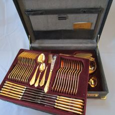 Nivella cutlery in case (genuine leather) - 12 people (72 pieces) 23 / 24 karat hard gold plated - 1,000 fine gold edition - unused / new