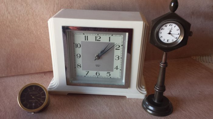 Swiss Table Clock Vintage Hand Wind Model Years 1960s Brand ISBEN And  Automatic Table Clock Brand