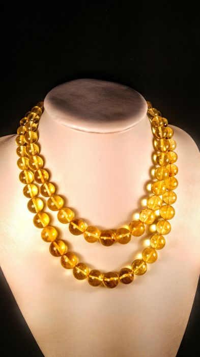 Clear Lemon colour Baltic amber necklace, length 46- 55 cm, 91 grams