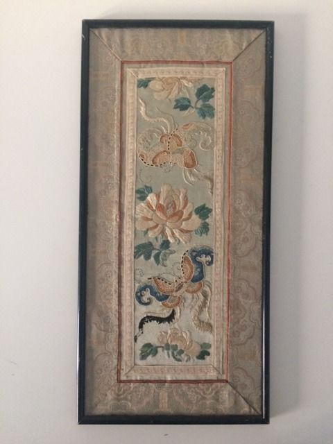 Embroidery on silk, China, 19th century, framed.