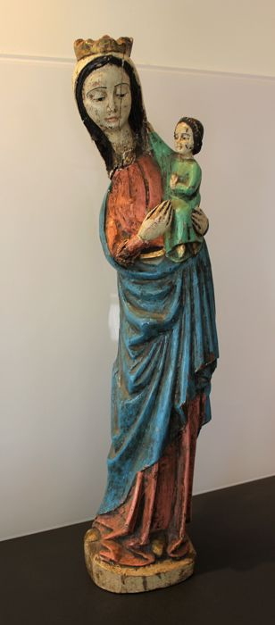 Virgin and Child - Tall Sculpture in polychrome wood - French school - 19th/20th century