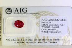 Ruby - 2.46 ct - Vivid Red - Fine Colour Quality