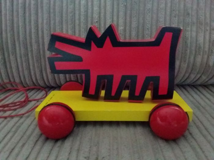 Keith Haring (after) - Pull toy dog in the estate of Keith Haring