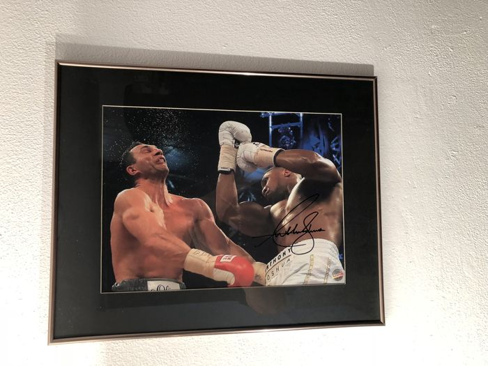 Anthony Joshua Signed Boxing Photo: The Klitschko Uppercut (Landscape) In Black Frame With Inlay 40 x 50 Cm