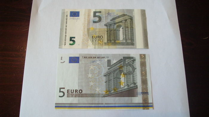 European Union - 5 euro 2002 Germany - Duisenberg en 5 euro 2013 Italy - Draghi