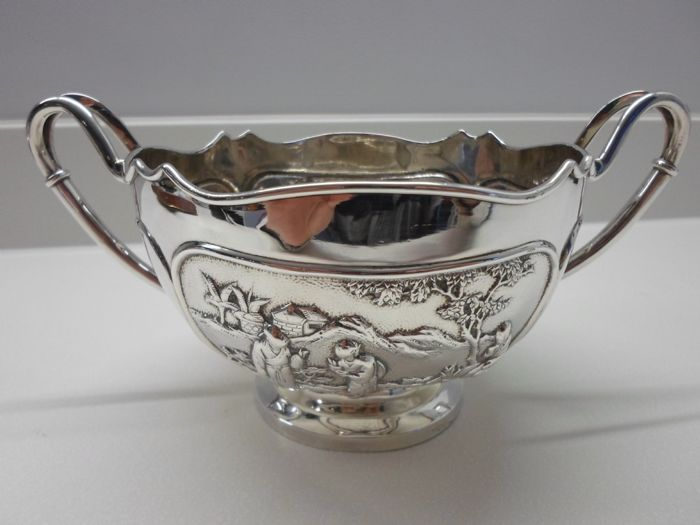 Silver rose bowl by Wang Hing - China - late 19th century