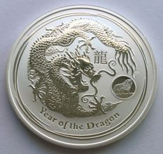 Australia - 1 Dollar 2012 'Year of the Dragon' with lion privy mark - 1 oz silver