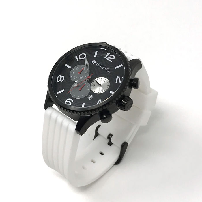 Barrel - Curl Chronograph 44 mm Black, White Silicon Strap - BA-4011-03 - Heren - NEW