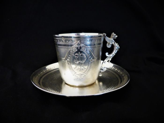 Silver cup + saucer, France, late 19th century