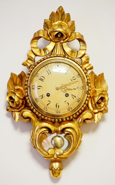 "Swedish ""Westerstrand"" hand carved wooden gold-plated Rococo style, Cartel Wall Clock - Middle of XXth century"