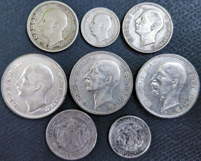 Bulgaria - 1 Lev up to and including 100 Leva 1882/1937 (8 coins) - silver