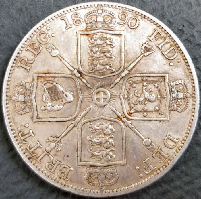 United Kingdom - Double Florin 1890 Victoria - silver