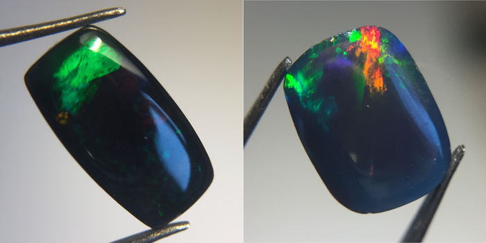 Lot of Flashing Multicolor Black Opal - 2.25 ct (2)