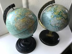2 Antique pewter Globes; Including Reliable