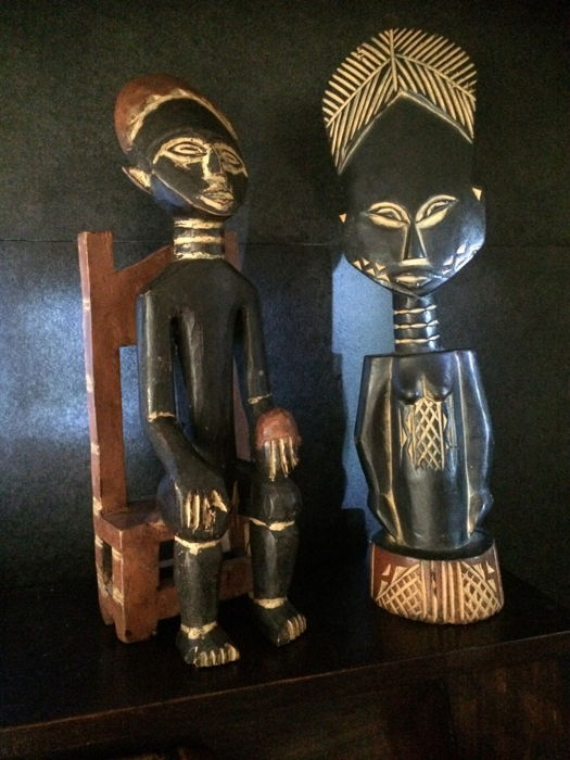Ashantti - wood carving two figures - Ghana - Africa