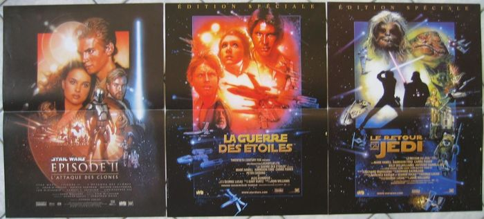 Movie Posters 1997: Lot Star Wars (3 Movie Posters) 1997 To 2002 (George Lucas