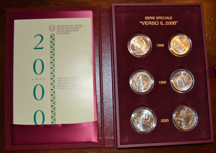 Republic of Italy - Special series 'Verso il 2000' ('Towards 2000') - 6 coins - silver