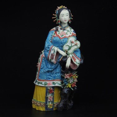 Elegant lady, Shiwan ceramics - China - 2nd half 20th Century (28 cm)