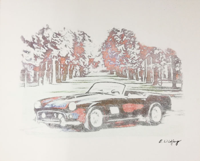 Ferrari 250 SWB California -  Original Artwork- 40 x 50 cm - By Emma Wildfang