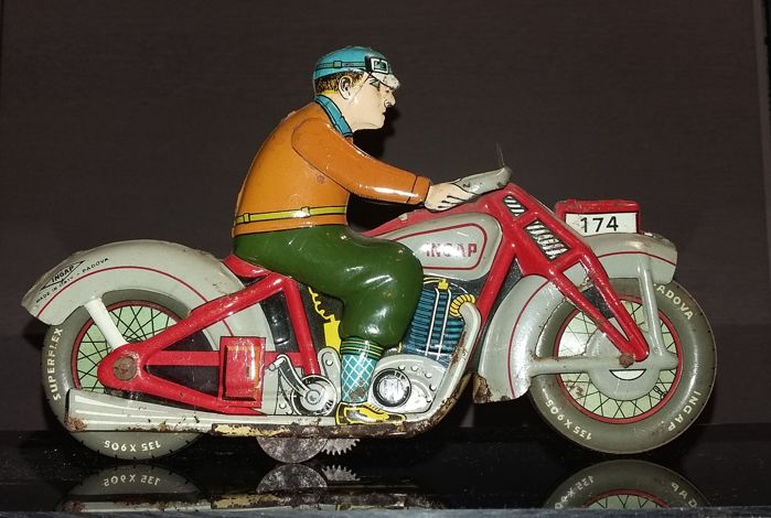 Ingap, Italy - length 20 cm - tin lithographed motorcycle 174 with biker - 1940s