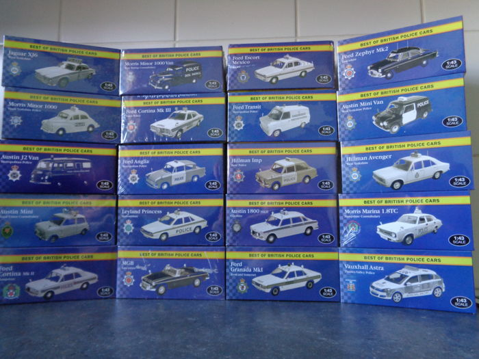 Atlas - Scale 1/43 - Lot with 20 models: Mini, Ford, Hillman, Jaguar, Leyland, MG, Morris, Vauxhall & Austin
