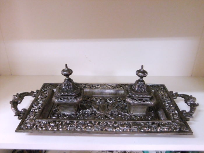 Large silver metal Art Nouveau Inkwell - decorated with mythological figures and vegetal motifs