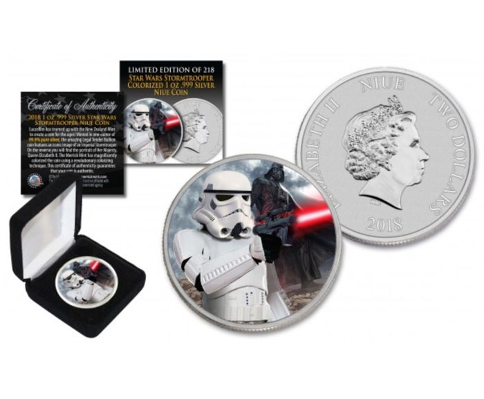 Niue - 2 Dollars 2018 - 1 oz Silver coloured - (Stormtrooper)