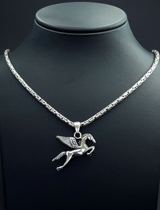 925 Italian Sterling Silver Men's Chain with Pegasus Horse Pendant and Bracelet,Chain:60cm