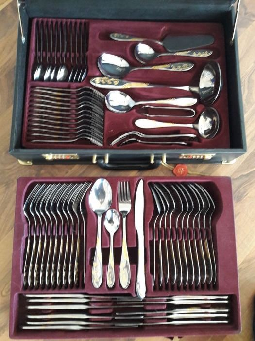 Solingen - 72 piece partially hard gold-plated luxury cutlery set for 12 people - 23/24 karat - unused - in original black case